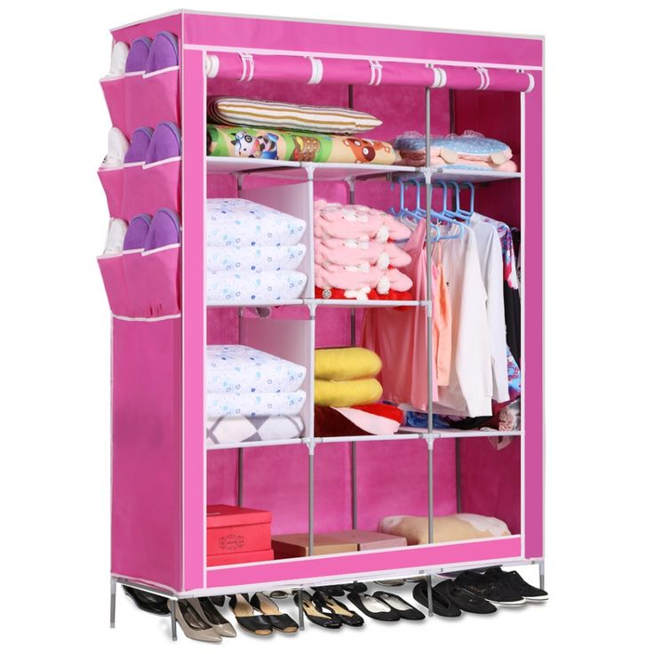 5 Color Homdox Portable Closet Storage Organizer Wardrobe  Canvas Wardrobe WIth Hanging Rail Storage Home Furniture