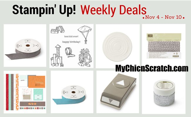 Stampin Up Weekly Deals http://www.mychicnscratch.com/2014/11/stampin-up-weekly-deals-9.html