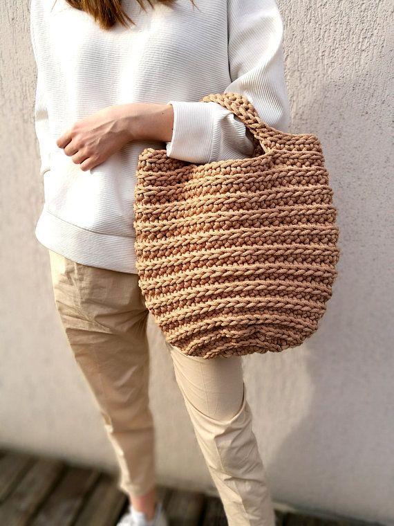 Knitted bag rope basket bag Rope crochet bag Sack Handmade boho bag Chrochet summer bag Tote Bolso Summer handbags Beach pouch Ready gifts