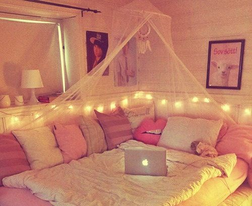 • perfect bedroom bed DIY pink fairy lights girly cosy dream room tumblr room room decor bedroom ideas inspriation wedreambedrooms •