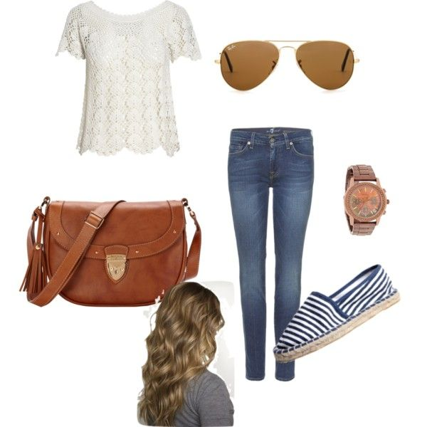 Cute :).. warm summers day.. comfy jeans, crochet top with sneakers with a big one shoulder brown bag. Accessorised with a big chunky watch, loose curls and some Ray-bans :)