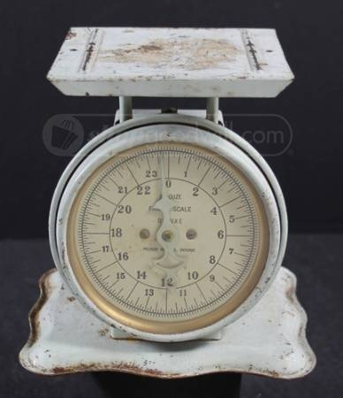 Vintage Scale. Looks like it might have had a large curved metal piece on top, to hold the baby while you weigh it.