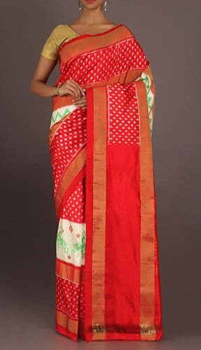 Vaishali Shining Dockets On Illustrious Red Ikat Pochampally Silk Saree