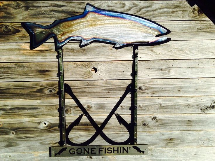 Pin by oregon torch craft on custom metal work pinterest for Fishing rod hangers