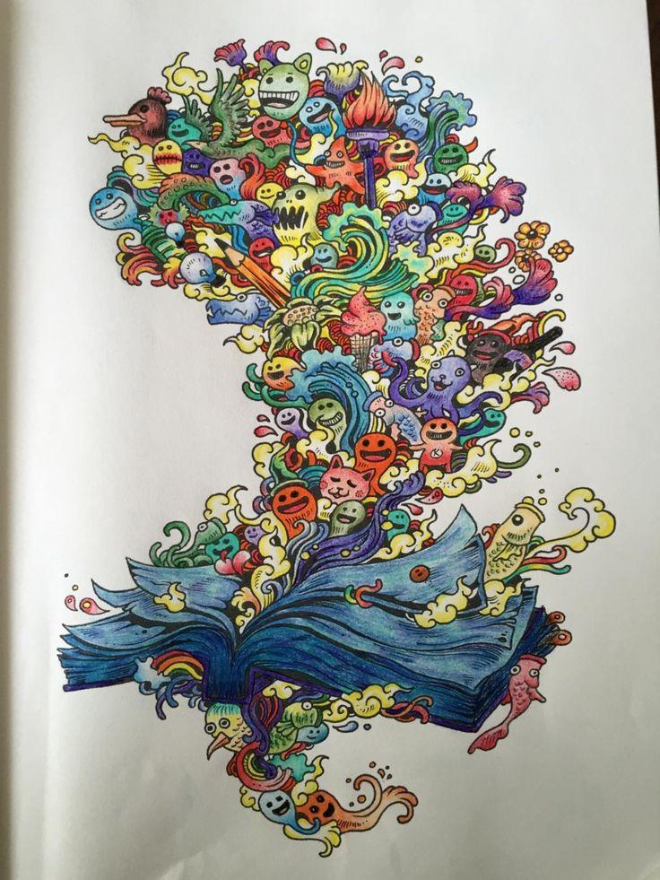 A9427c7b516747ab0fd1c9c9cc6b8292 Coloring Book Adult Doodle Invasion Kerby Rosanes