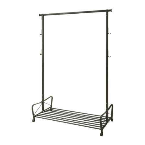 IKEA Portis garment rack; I need to makeshift clothes storage in new room/no closet, looking for open rack/shelf solutions. Ideas? Suggestions?
