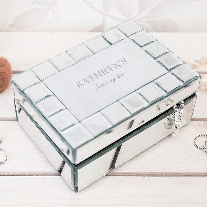 This lovely glass mirrored jewellery box has a tiled border and can be engraved with a name and message of your choice.