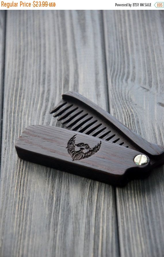 ON SALE New Wooden Beard Hair Folding Comb Wenge Wood Original gift for Him Dad Husband LumberMan Custom engraving Fear the beard Personaliz