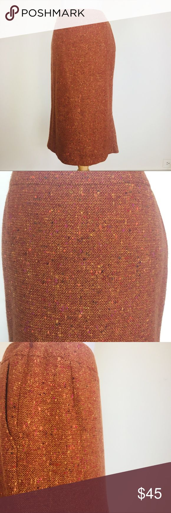 """Max Mara Virgin Wool Rust Orange Pencil Skirt Beautiful deep rust colored tweed virgin wool skirt by MaxMara. Flattering fit of pencil style with a mermaid hemline on the back panel. Hem falls a little below the knee to give a slimline silhouette. Definitely a timeless piece of your wardrobe. Excellent condition.  * 88% Virgin Wool / 12% Nylon * Fully lined * Side zip closure * Side pockets * Darted back and mermaid hem on back on skirt * US 8 / I 42 * Made in italy  * 14.75"""" Waist * 19.25""""…"""
