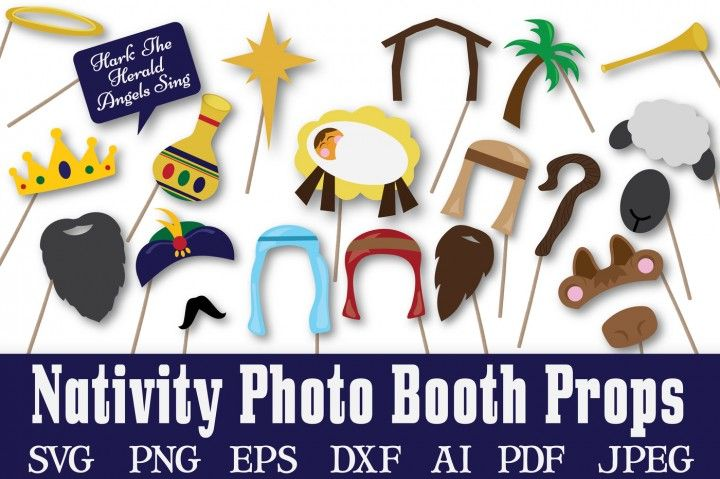 Fun Express Nativity Scene Photo Booth Props for Christmas Costume Props 12 Pieces Christmas