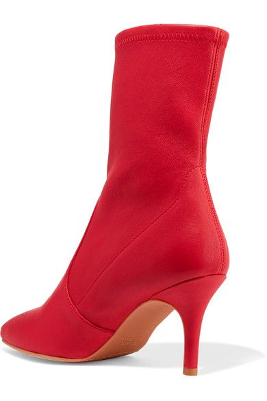 Stuart Weitzman - Cling Leather Sock Boots - Red