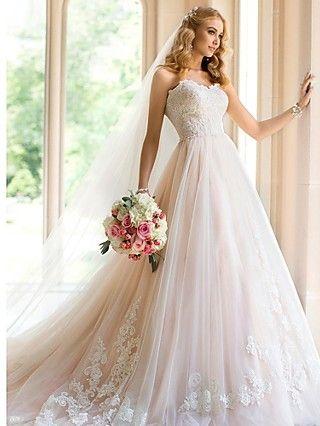 Vestido de Noiva Trapézio Coração Cauda Corte (Tule) | LightInTheBox