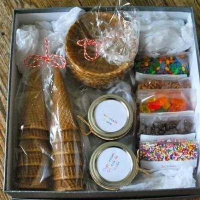 "Super idea for a family gift for Christmas, house warming or any occasion. You can get the small bags at most craft stores, small mason jars for other toppings and include a note that says ""Just add ice cream"" . Very cute. I will be doing this for Christmas gifts this year!!!"