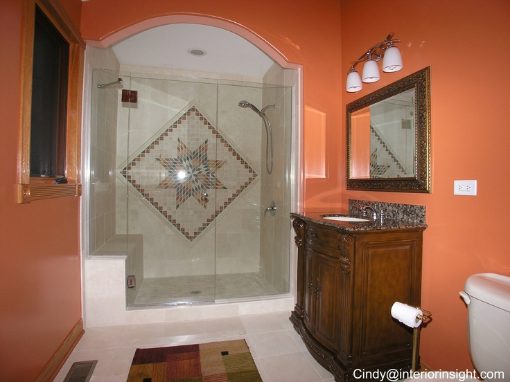 Master bathroom shower with bench glass door tile mosaic for Mosaic tile vanity top