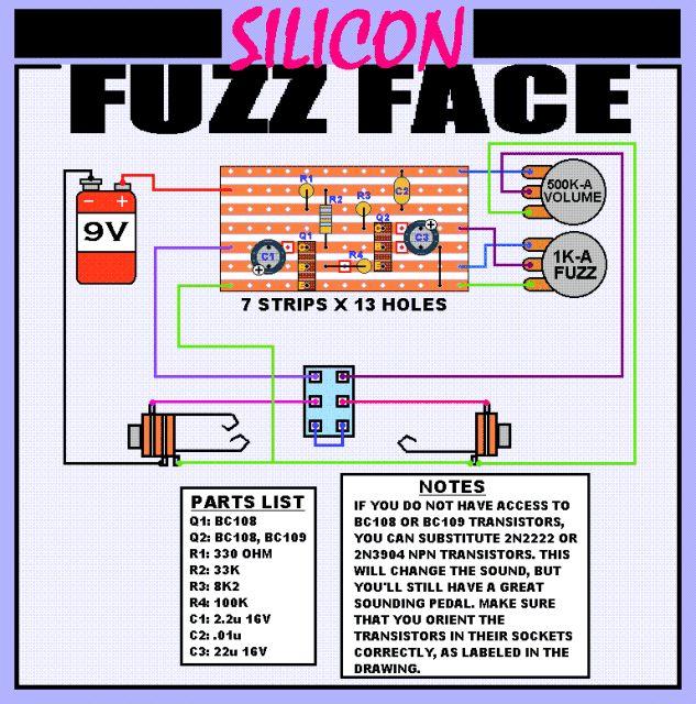 Fuzz Face on stripboard. Pedal schematics Pinterest