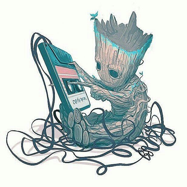 Little groot is hold a music player