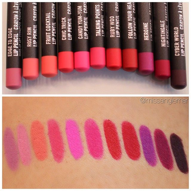 These lip liners were made as carbon copy colors of some cult classic MAC lipsticks (left to right) Pink Plaid, Snob, Ravishing, Impassioned, Candy Yum Yum, Girl About Town, Ruby Woo, MAC Red, Heroine, Rebel & Cyber