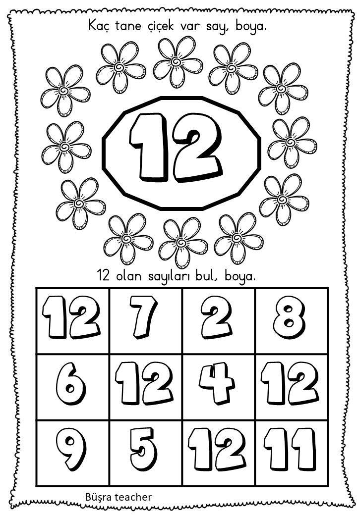 12 Sayisi Calisma Sayfasi Okul Oncesi 2020 Matematik Egitim Okuma