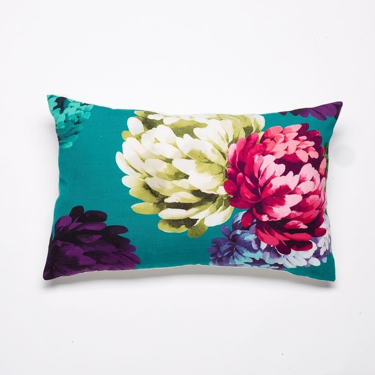 Chrysanthemum teal cushion