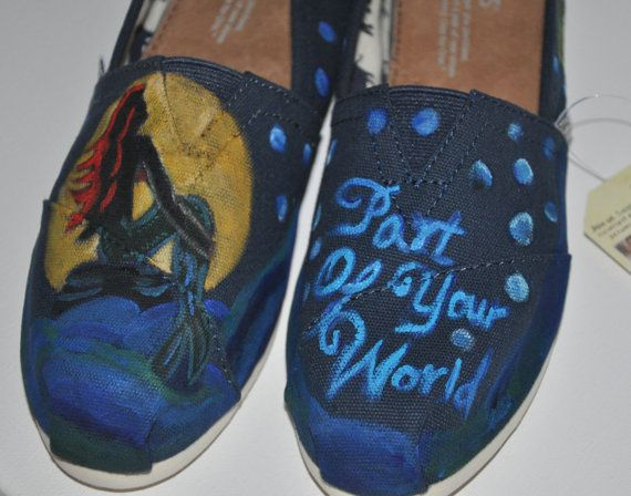"""Hand Painted TOMS """"Little Mermaid"""""""