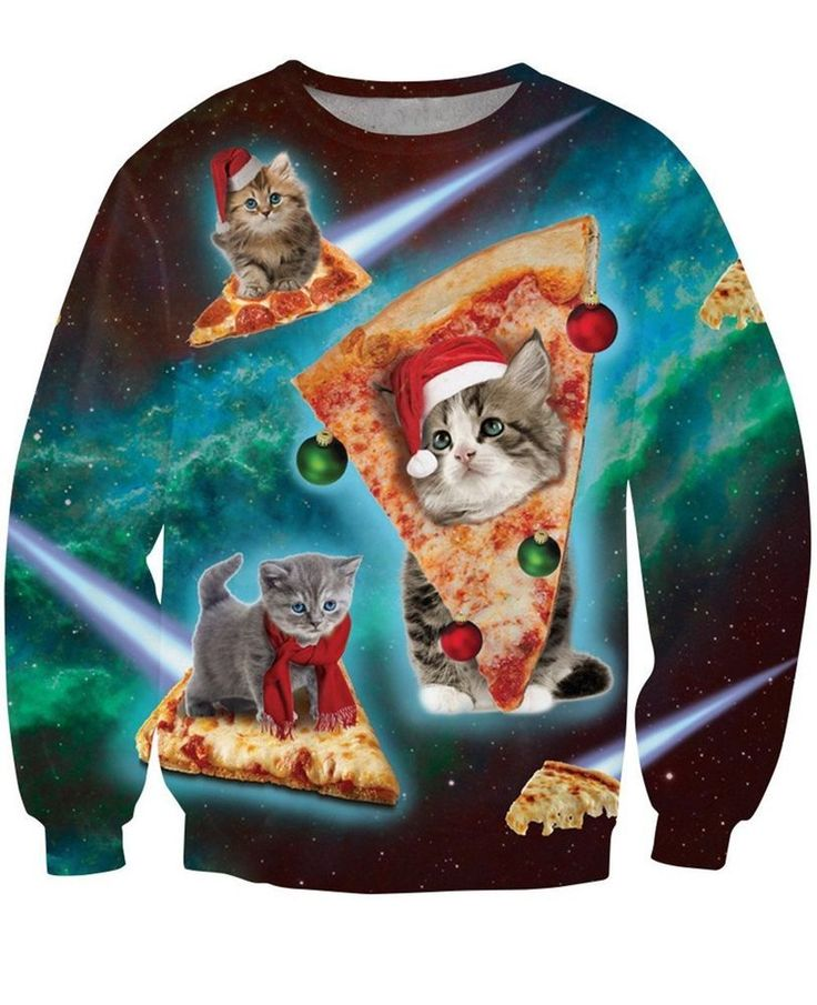 Christmas Ugly Pullover Sweatshirts Pizza Cat Funny Holiday Gift For Women Men L #Uideazone #SweatshirtCrew