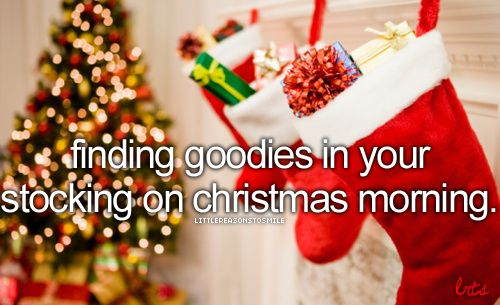 finding goodies in your stocking on christmas morning