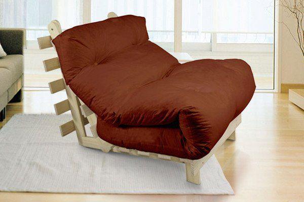 Single Pine Futon Sofa Bed with Mattress