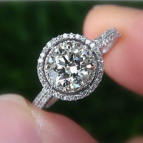 1.50 carat Round - Halo - Pave - Antique Style - Diamond Engagement Ring 14K white gold $5500
