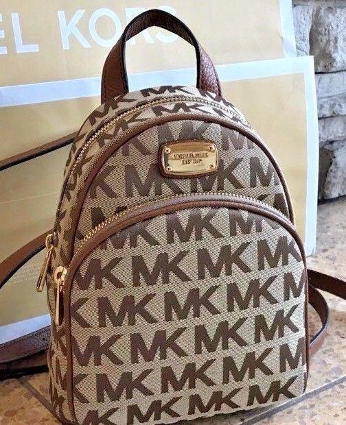 efa03f8e91c1 NWT Michael Kors Abbey XS Mini Backpack Crossbody MK Luggage Brown Signature