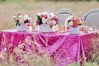 Sequin Fuchsia Pink Tablecloth and Overlay Various Sizes by DESIGNERSHINDIGS on Etsy https://www.etsy.com/listing/182333084/sequin-fuchsia-pink-tablecloth-and
