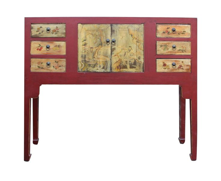 Chinese Oriental Red Console Table on Chairish.com