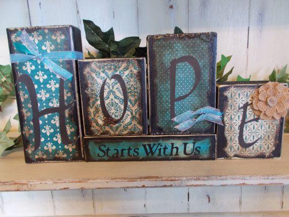 Hope Wood Block Sign by ktuschel on Etsy, $20.00