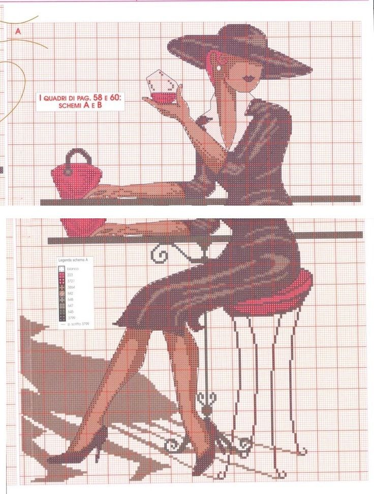 0 point de croix femme elegante buvant un verre - cross stitch elegant lady drinking a glass