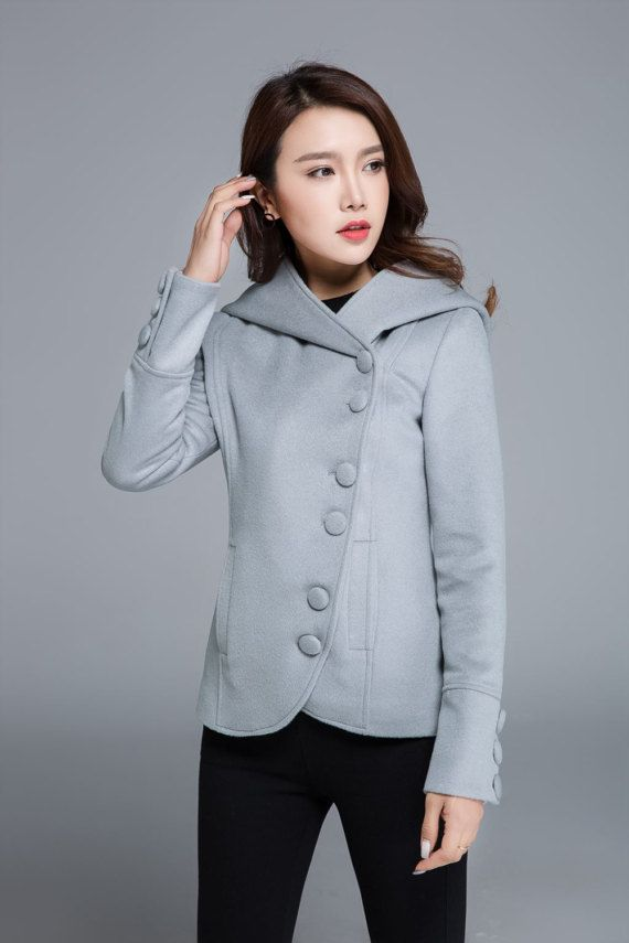 short coat light grey coat mini jacket hooded coat by xiaolizi
