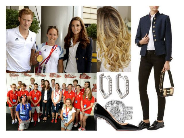 """Visiting the athletes at Team GB House in the Westfield Centre on Day 13 of the London 2012 Olympic Games with Kate and Harry"" by alexandraofwales ❤ liked on Polyvore featuring Lands' End, Topshop, Burberry, Prada and Eva Fehren"