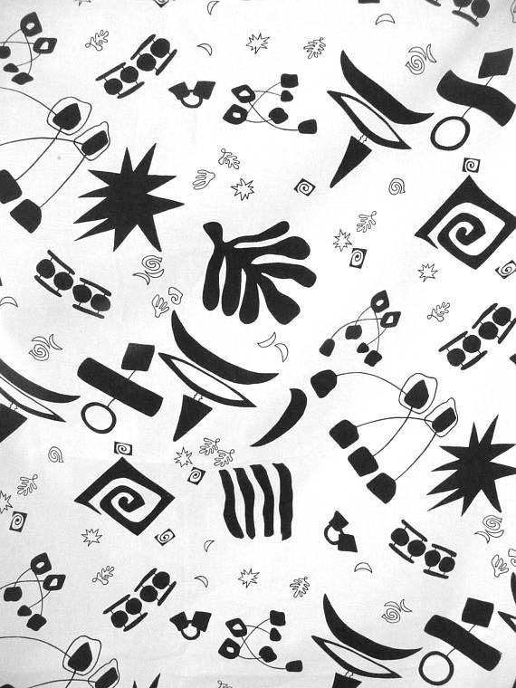 Vintage New Fabric Black White Print Woven Cotton Fabric