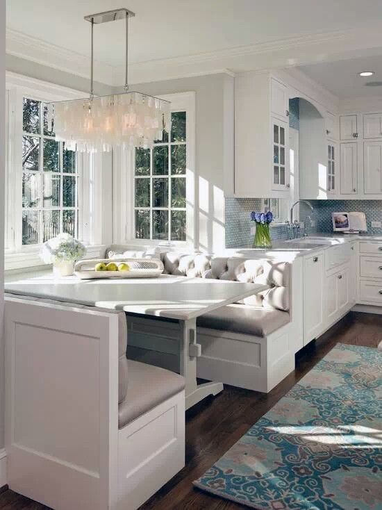 Blue, light, & white - but would definitely go with a lighter floor and cut out the mauve accented rug.