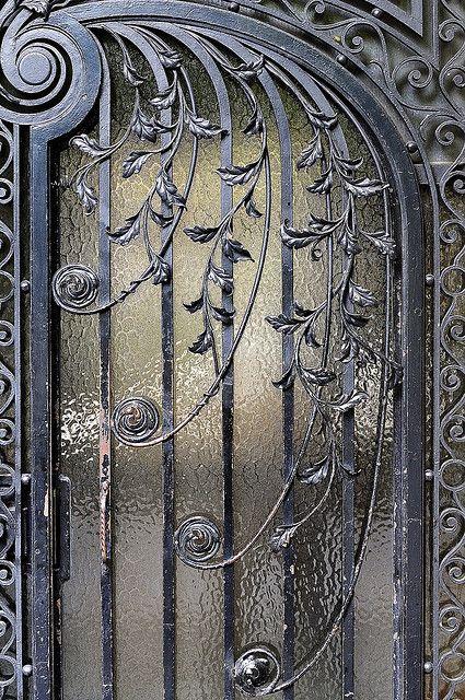 The wrought iron door