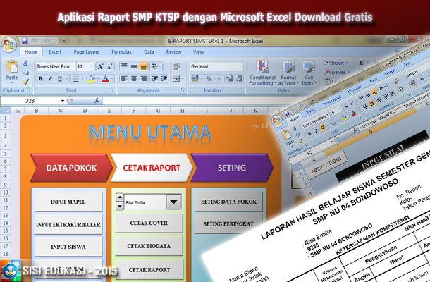 Aplikasi Raport SMP KTSP dengan Microsoft Excel Download Gratis