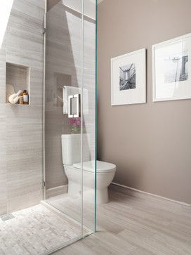Contemporary #bathroom design with gray walls, marble stone wood look #tile and open #shower concept.
