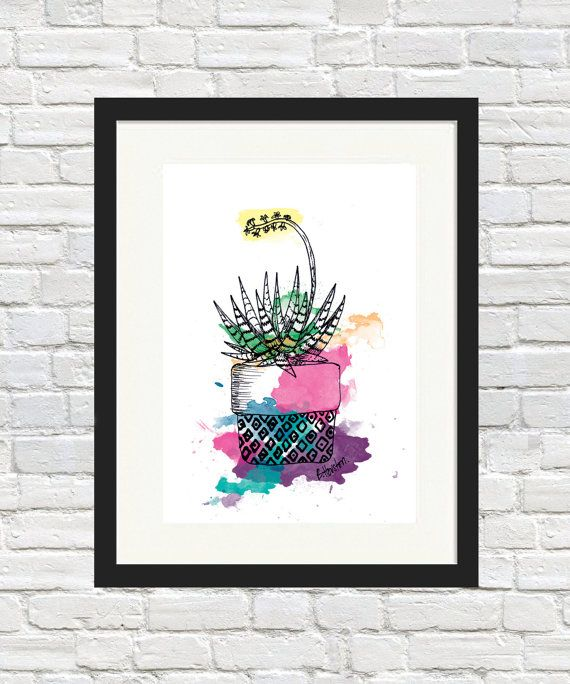 Succulent Pouch Pot Colour Print by BronwynHoustonArt on Etsy