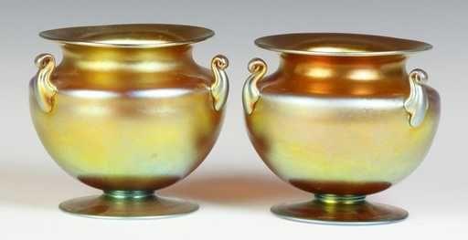 Lot: Pair of Steuben Gold Aurene 3 Handled Vases, Lot Number: 0356, Starting Bid: $400, Auctioneer: Cottone Auctions, Auction: Fine Art & Antique Auction, Date: October 5th, 2013 EDT
