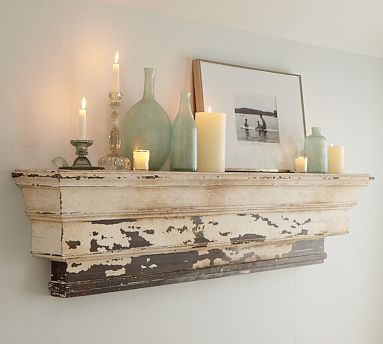 Distressed mantle shelf.: Decor, Ideas, Sweet, Shabby Chic, Living Room, Shelves, Mantle, Pottery Barn, Bedroom
