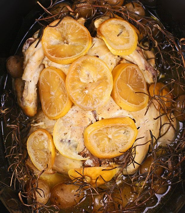 Slow Cooker Lemon, Garlic and Rosemary Chicken at This Mama Cooks! On a Diet