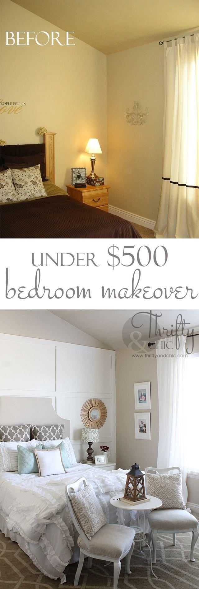 Master bedroom makeover for under $500. Great DIY ideas!