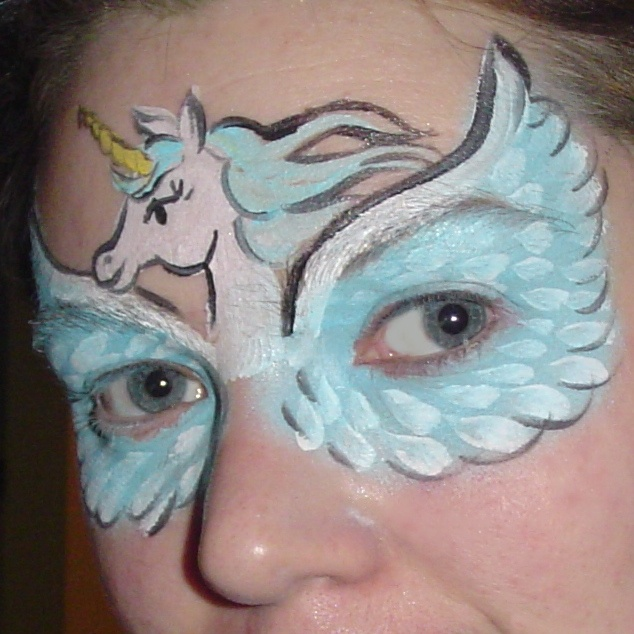 Flying Unicorn face painting by Perry Noia the Clown