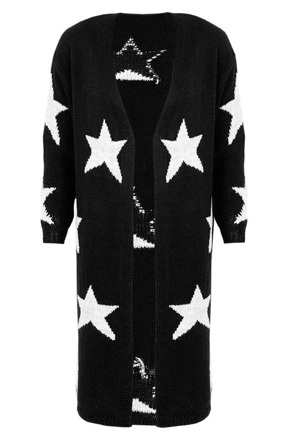 Star Cardigan Black | The Musthaves Zwart vest met witte sterren! Dit lange wollen vest met sterren print maakt elke outfit af! Als jas en vest te dragen!