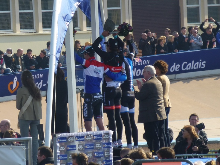 Left to right: Terpstra, Cancellara, and Vanmarcke on the winners' podium.
