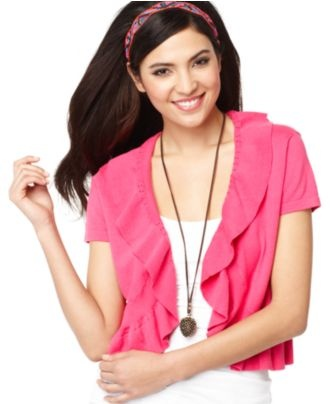 Style Cardigan, Short Sleeve Ruffle Shrug - Womens Sweaters ...