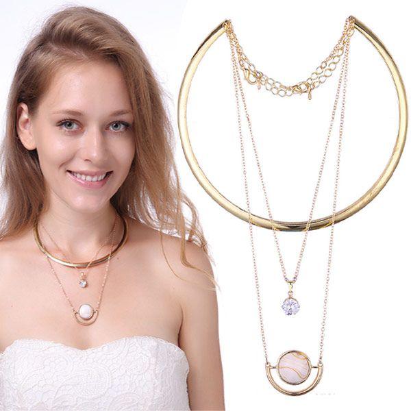 Hot New Europeia Moda Torques De Ouro Multi-camadas de Metal Cadeia de Cristal Colar de Pingente de Pedra Para As Mulheres